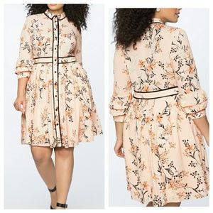 Printed Shirt Dress with Double Cuff